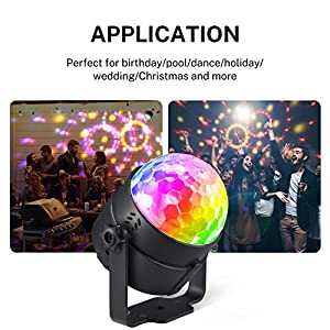 Donner 1 Pack Party Lights, Disco Ball Light with Sound-activated Strobes 7 Lighting Modes Remote Control for DJ Bar Pub Club Party Karaoke Music Show Indoor and Outdoor