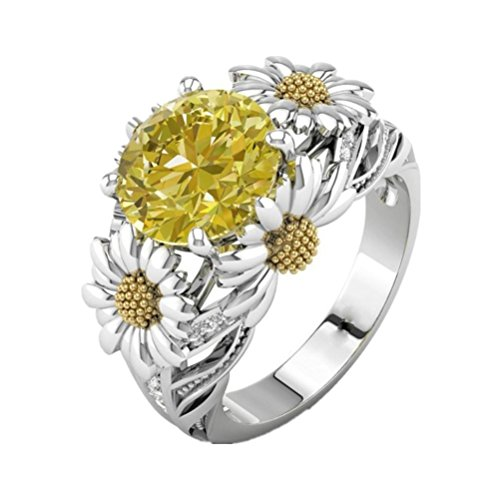 Rings Womens Romance Girls Gift AfterSo Fashion Classic Sunflower Zircon Engagement Ring (10, Multicolor) (Swarovski Crystal Pocket)