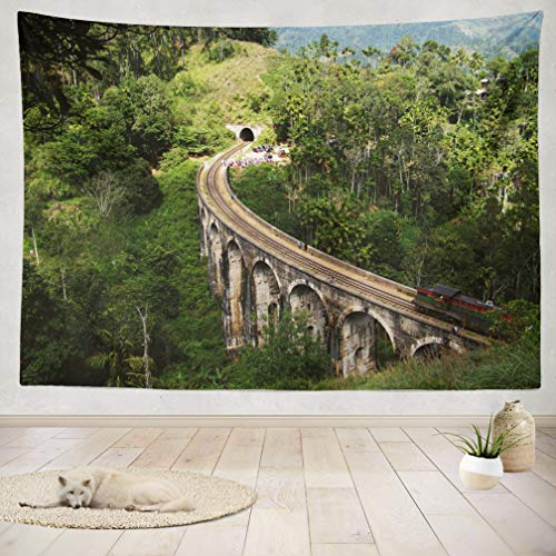 (ASOCO Tapestry Wall Handing Train Bridge Beautiful Train Track Hill Country Old Bridge Century Years Old Wall Tapestry for Bedroom Living Room Tablecloth Dorm 60X80 Inches)