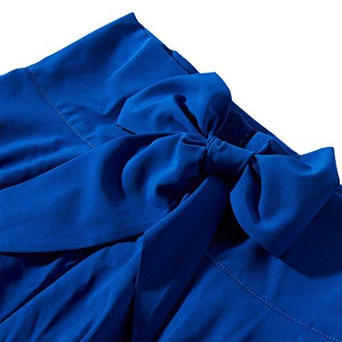 haute BFUSTYLE saisons les Toutes Maxi Dark fente ceinture jupe Pliss Femmes Swing avant taille longueur pleine Blue trqqRXwp