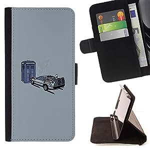 Samsung Galaxy Core Prime - Dibujo PU billetera de cuero Funda Case Caso de la piel de la bolsa protectora Para (Back To The Futur - Time Travel)
