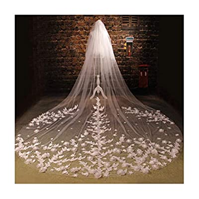 Fenghuavip 2T Cathedral Wedding Veils for Brides 5M Length 3D Flowers Blusher Wedding Veils