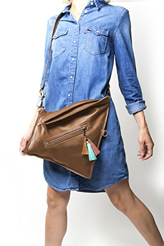 Soft leather crossbody bag   Fold over purse   Practical for woman and girls (Tan) by Percibal (Image #2)