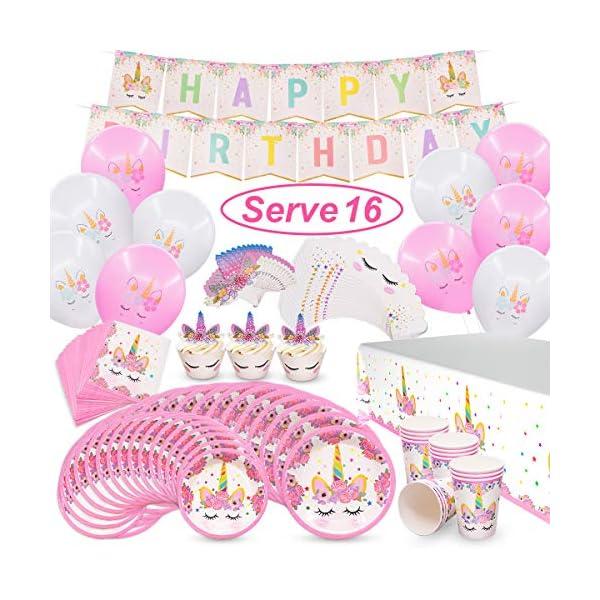 Pawliss Unicornio suministros de fiesta, sirve 16 cumpleaños fiesta favoritos decoraciones para niños niñas, cupcake toppers envoltorios, platos tazas, servilletas, globos banners mantel, paquete a granel 96 ct