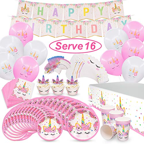 Pawliss Unicorn Party Supplies, Serves 16 Birthday Party Favors Decorations for Kids Girls, Cupcake Toppers Wrappers, Plates Cups Napkins, Balloons Banners Tablecloth, Bulk Pack 96ct]()