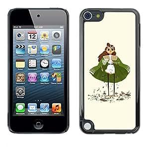 Shell-Star Arte & diseño plástico duro Fundas Cover Cubre Hard Case Cover para Apple iPod Touch 5 ( Green Cape Princess Figurine Art Girl Eyes )