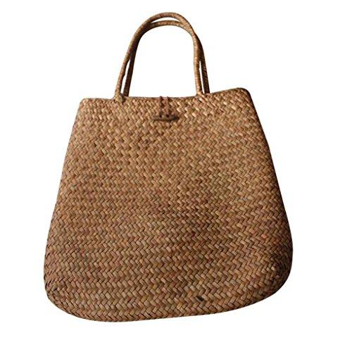 Las mujeres de playa del verano de asas de bolsas tejidas de paja Muchacha clásica del hombro hizo punto el bolso de señora Bohemia bolso de la bolsa de gran capacidad Republe Caqui