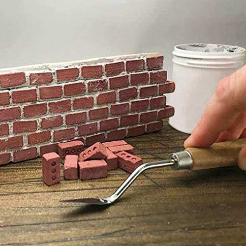 Huaze 2pcs Mini Cement Bricks and Mortar - red Bricks are 1:6 Scale Miniature Cinder Blocks - Let You Build Your Own Tiny Wall Mini (Red)