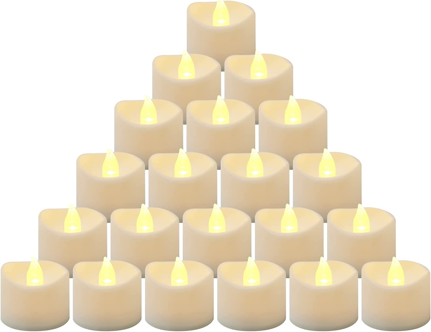 24Pack Flickering Battery Operated LED Tealight Candles, Realistic Electric Fake Candle for Wedding, Table, Gift, for Table Centerpieces, Mood Lighting and Home Decor, Outdoor (Battery Included)