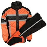 Milwaukee Leather Mens Black/Orange Water Resistant Rain Suit with Reflective T - Large