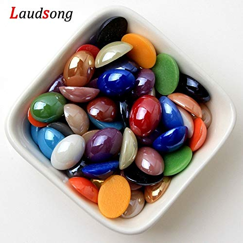 Pukido Oval Shape Natural Stone Beads Domes Half Flat Back Cabochon Beads for Jewelry Making DIY Findings - (Item Diameter: 4x6mm 300pcs)