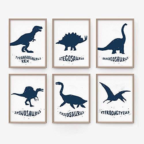 Rudxa Dinosaurio Tyrannosaurus Animales Carteles Arte de la Pared Pintura de la Lona Cuadros de la Pared Bebe Habitacion de los ninos Decoracion-21x30cmx6 Piezas sin Marco