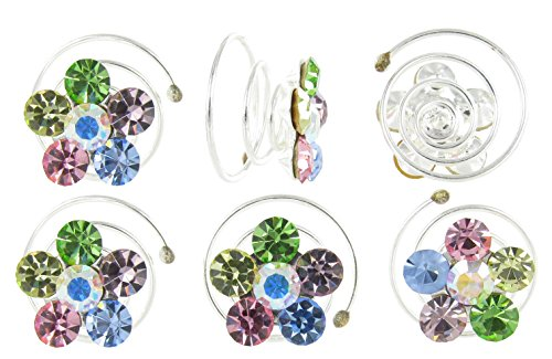 Iridescent Flower Girl Rhinestone Hair Spirals 6 Pack with Multicolored Crystals