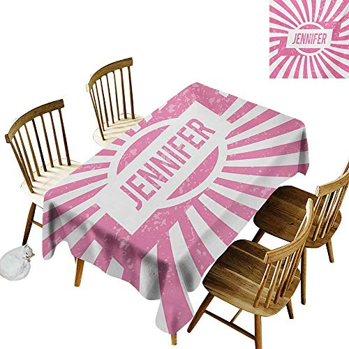 Cranekey Outdoor Rectangular Tablecloth W50 x L80 Jennifer One of The Most Popular Names for Newborn American Girls in Retro Design Pale Pink and White Great for Coffee -