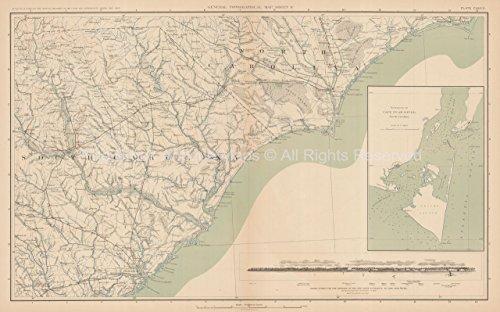 North South Carolina Civil War Gift Ideas Antique Map 1895 circa ...