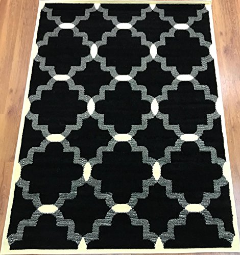 Antep Rugs Kashan King Collection 513 Polypropylene Indoor Area Rug Black and Cream 8' X 10'