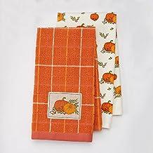 Harvest Season 2-pack Autumn Thanksgiving Pumpkin Patch Kitchen Dish Towel Set