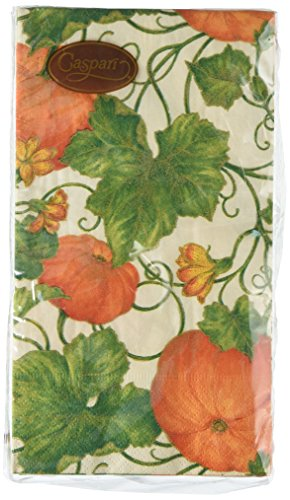 Entertaining with Caspari Pumpkins Guest Towels, Ivory, 15-P
