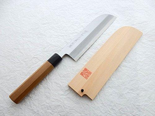 Yoshihiro Yasuki Blue Steel #2,AOGASUMI Kamagata Usuba Knife Kansai Style with Wooden Saya Cover & Saya Pin (195mm/7.7'')