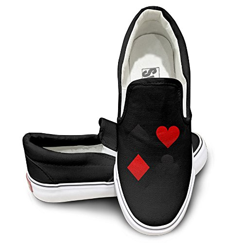 [Deamoon Poker Spades Hearts Athletic Unisex Flat Canvas Shoes Sneaker Black 44] (Avatar Makeup)