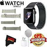Apple Watch Series 2 38mm Smartwatch (Space Black Stainless Steel Case, Space Black Link Band) + Watch Band Silver Mesh 38mm + Watch Band Space Gray Mesh 38mm + MicroFiber Cloth Bundle
