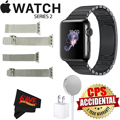Apple Watch Series 2 38mm Smartwatch (Space Black Stainless Steel Case, Space Black Link Band) + Watch Band Silver Mesh 38mm + Watch Band Space Gray Mesh 38mm + MicroFiber Cloth Bundle by 6Ave
