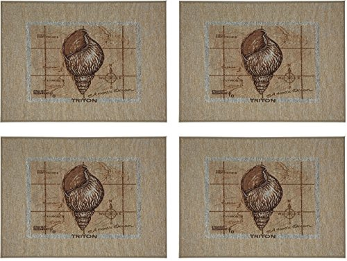 Manual Sea Treasures Triton Spiral Shell Janet Kruskamp Tapestry Placemats TSTTRP 18x13 Set of 4
