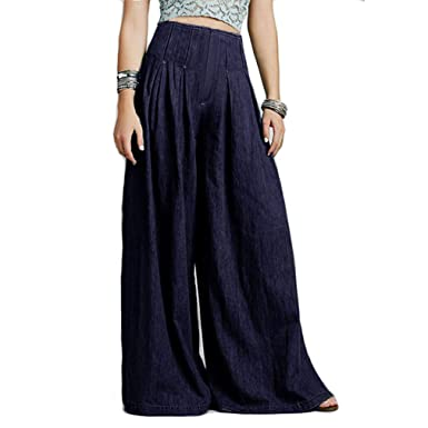 1a4b97ad51fecd Frauen Hohe Taille Cowboy Breite Beinhosen Damenmode Reine Farbe Lange  Hosen Beiläufige Einfache Lose Hose S-5Xl: Amazon.de: Bekleidung