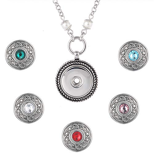 LEGENSTAR Interchangeable Pearl Pendant Necklace with 5 Snap Buttons for Women(Crystal Buttons) ()
