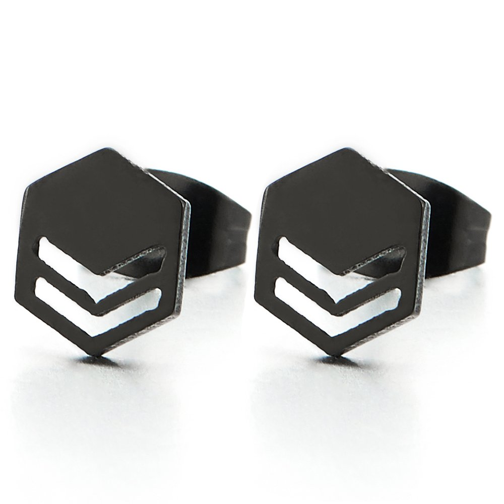 2pcs Mens Womens Stainless Steel Black Hexagon Mask Stud Earrings