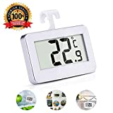 DR.HOMEER Refrigerator Thermometer Digital IPX3 Waterproof Freezer Room Fridge Thermometer LCD Display Big Digits With Hanging Hook Retractable Stand Indoor Temperature Monitor
