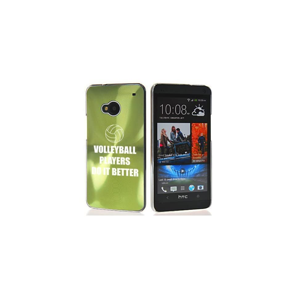 Green HTC One M7 Sprint AT&T T Mobile Aluminum Plated Hard Back Case Cover 7M103 Volleyball Players Do it Better Cell Phones & Accessories