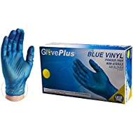 GlovePlus Industrial Blue Vinyl Gloves - 4 mil, Latex Free, Powder Free, Disposable, Non-Sterile, Food Safe, Small, IVBPF42100-BX, Box of 100