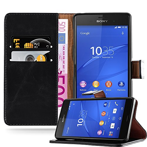 Cadorabo Book Case Works with Sony Xperia Z3 in Graphite Black - with Magnetic Closure, Stand Function and Card Slot - Wallet Etui Cover Pouch PU Leather Flip
