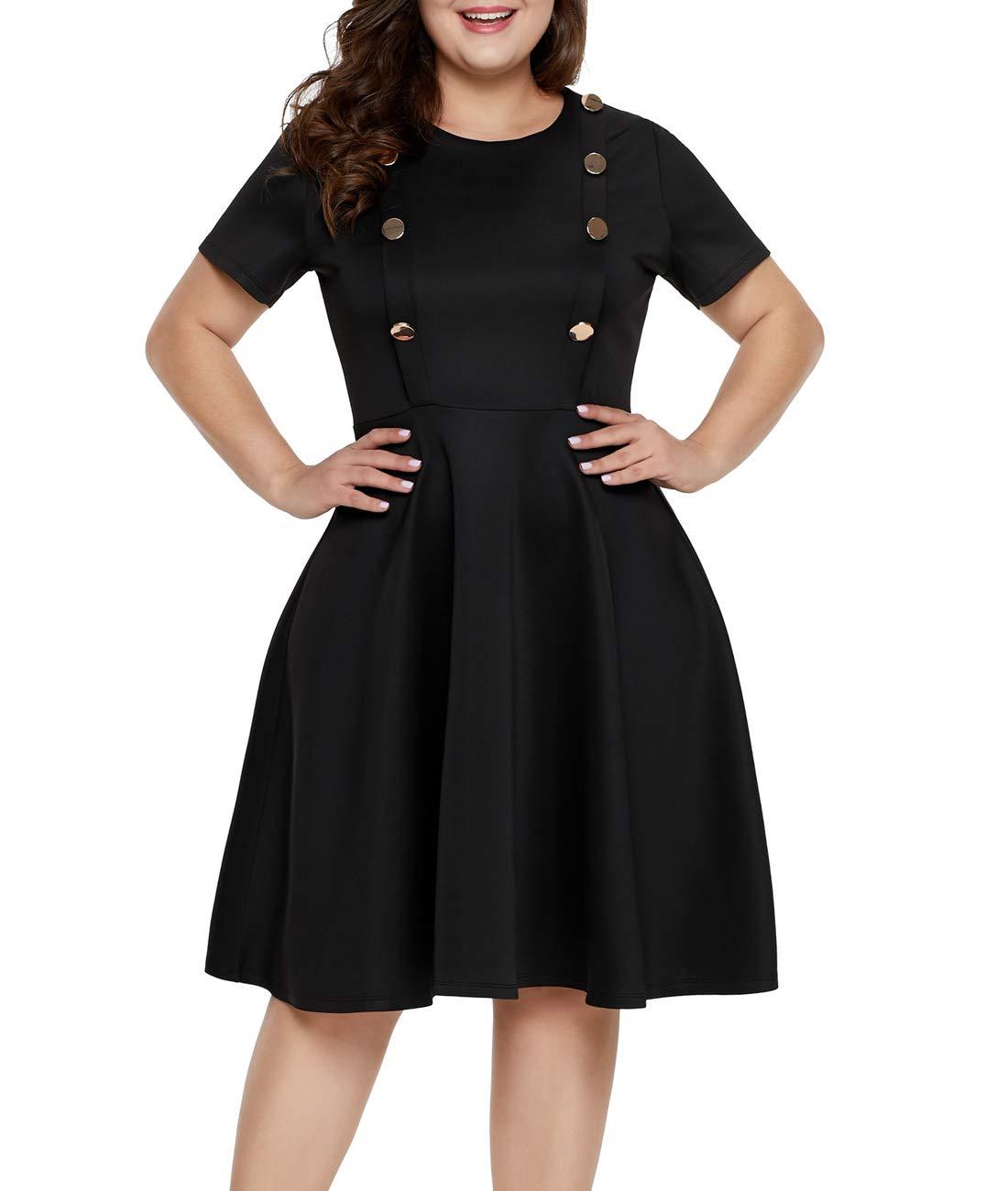 a6ed4018780c2 Lalagen Women Plus Size Short Sleeve Round Neck Cocktail Party Swing Midi Dress  Black 5X