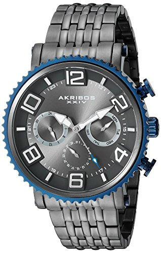 Akribos XXIV Men's Quartz Multi-Function Blue Accented Dark Gray Sunray Dial on Gun Metal Stainless Steel Bracelet Watch AK917GN