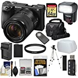 Sony Alpha A6500 4K Wi-Fi Digital Camera & 18-135mm Lens 64GB Card + Battery & Charger + Case + Tripod + Flash Kit