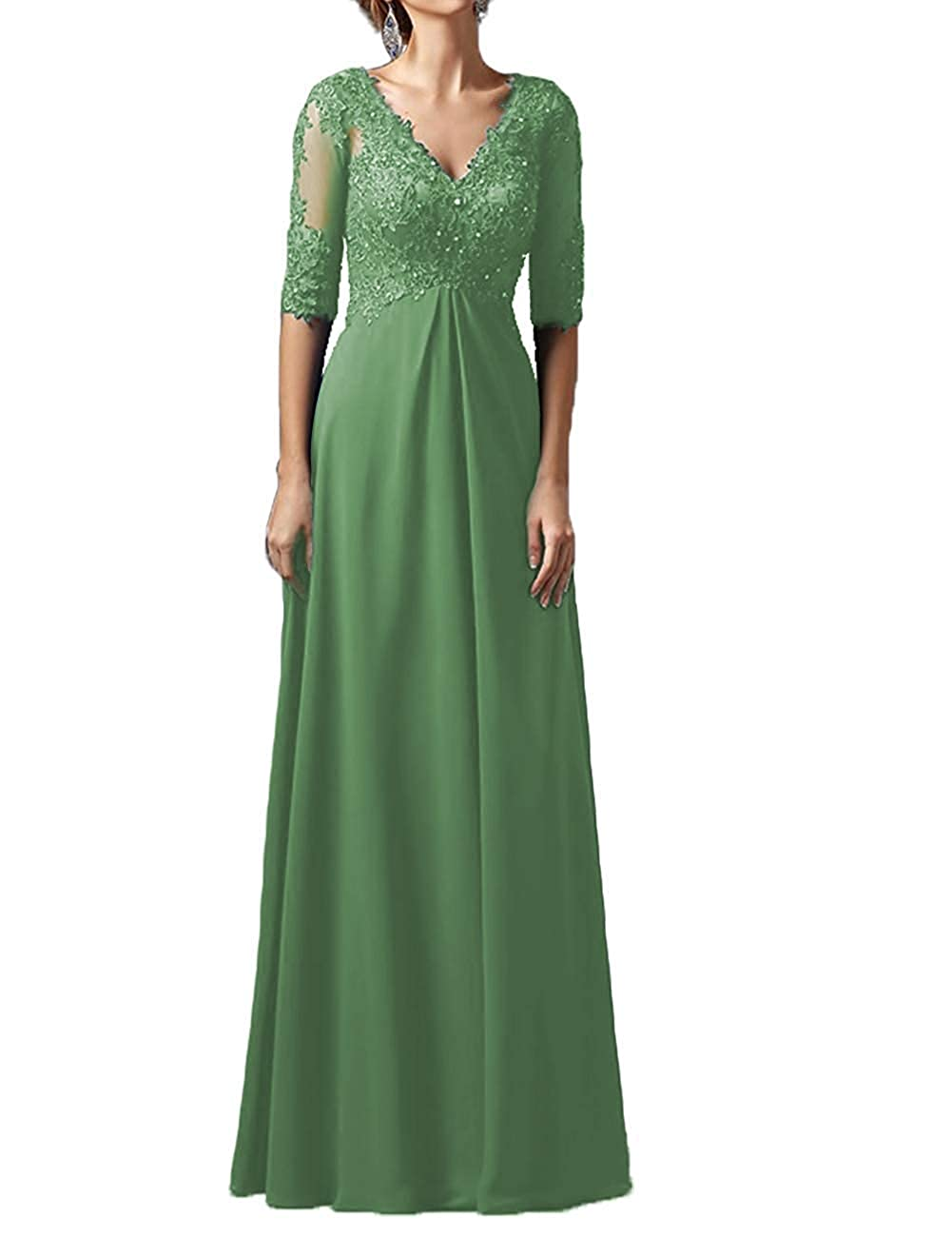 Light Green Mother Dress Long Sleeves V Neck Plus Size Mother of The Bride Dress Formal Party Evening Gowns