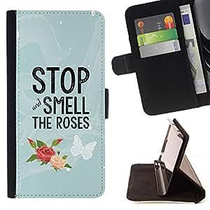 Momo Phone Case / Flip Funda de Cuero Case Cover - Sentir les roses Papillon texte - Sony Xperia Z3 Compact