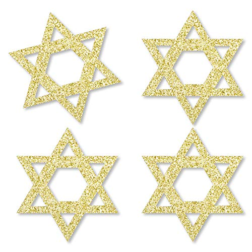 Gold Glitter Star of David - No-Mess Real Gold Glitter Cut-Outs - Hanukkah Confetti - Set of 24