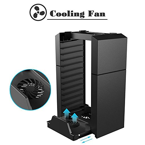 KONKY - PS4 / PS4 Slim Game Storage Holder, Playstation 4 Dual Controller Charging Station Dock Vertical Stand with USB Cooling Fan and PS4 Video Games DVD Storage Tower