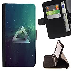 Momo Phone Case / Flip Funda de Cuero Case Cover - Psychedelic Grometry Triángulo del espacio;;;;;;;; - Samsung Galaxy S6 Edge Plus / S6 Edge+ G928