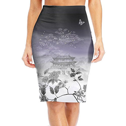 SHZFS Luc Chinese Style Painting Art Female Office Pencil Skirt Mini Skirt Women's - Center Usa Cartagena