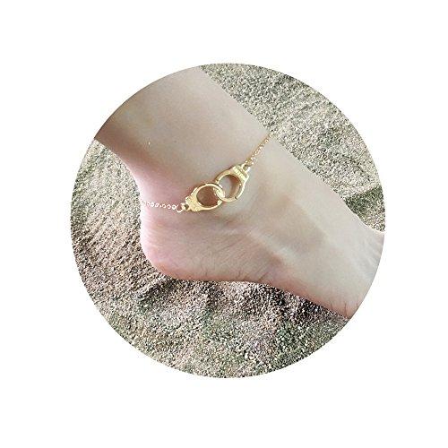 MISSU JEWELLRY Love Handcuff Anklet Fashion Women Beach Anklet Summer Jewelry Gift (Gold)