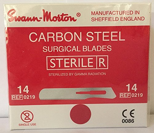 Swann-Morton® #14 Sterile Surgical Blades, Carbon Steel [individually packed, box of 100] - Steel Sterile Surgical Blades