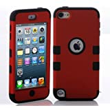 Topforcity PC + TPU Fashion Contrast color style design Hybrid Impact Armored Hard Case for Apple iPod Touch 5 with Screen Protector(red+black)