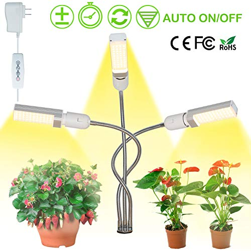 LED Grow Light FullSpectrum [2019 Latest], 3 Head Gooseneck Sunlike Grow Lamp| 5 Dimmable Levels Professional Indoor Plants Grow Light with C-Clamp Clip Auto On/Off with 3 Timer 68W Replaceable Bulbs