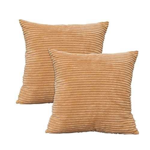 Brown Corduroy 3 Piece (NATUS WEAVER Decorative Corduroy Velvet Square Throw Pillow Sofa Cushion Covers for Couch, 18x18 inch (45 cm), Taupe, 2 Pieces)
