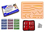 Suture Practice Kit, Suturing Training Kit for Medical and Veterinarian Students or Professionals; Silicone Wound Simulation Pad, 12 Pack of Sutures, Tool Set w/Blades (Education Use Only)