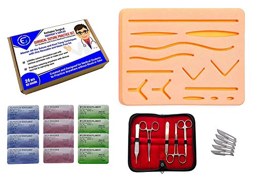 Suture Practice Kit, Suturing Training Kit for Medical and Veterinarian Students or Professionals; Silicone Wound Simulation Pad, 12 Pack of Sutures, Tool Set w/Blades (Education Use Only) by Asclepius Surgical